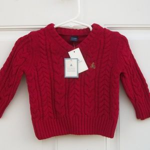 Baby Gap Red Cable Knit Sweater Red V Neck 3-6 mos